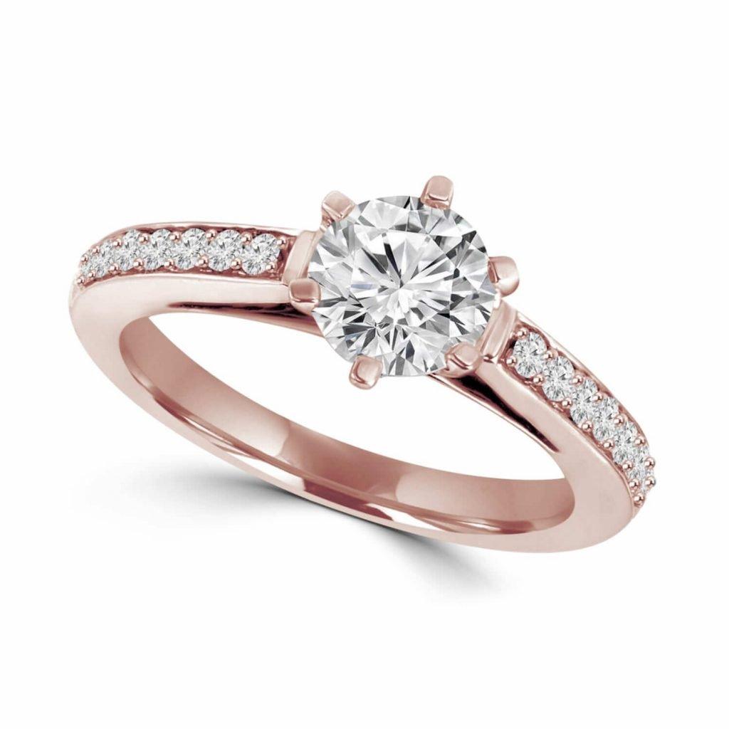 Anillo de compromiso en oro rosa
