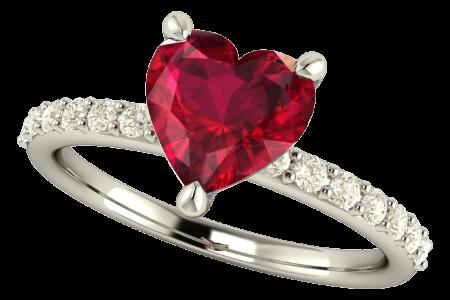 Anillo de compromiso con rubí y brillantes