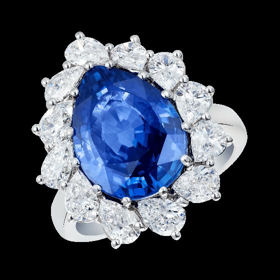 Sortija de zafiro y diamantes pera