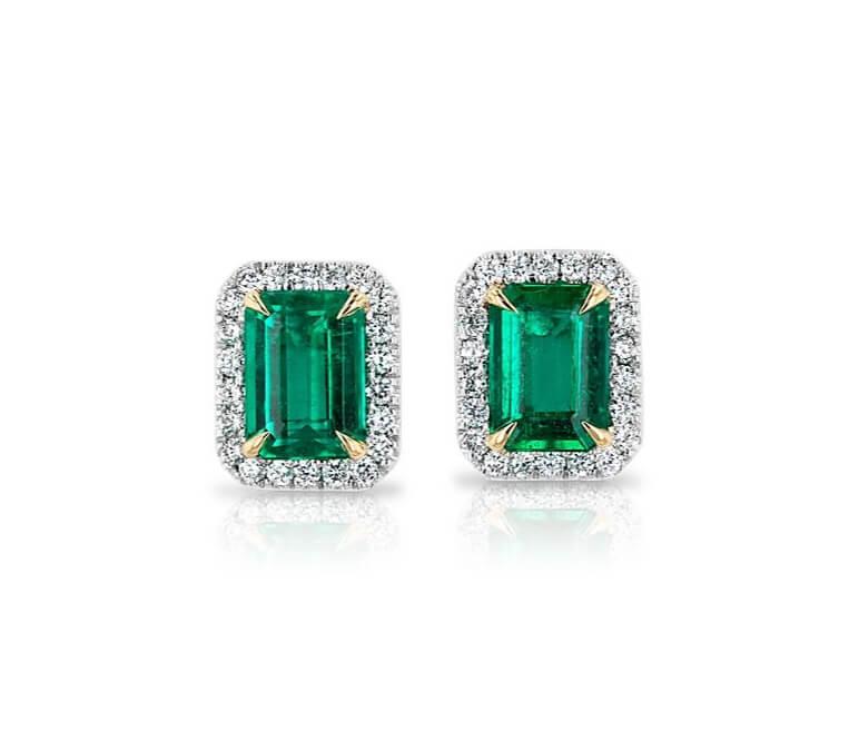 Pendientes esmeraldas con brillantes