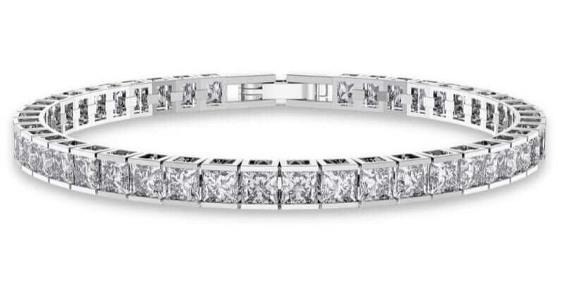 Pulsera rivere de diamantes en talla princesa