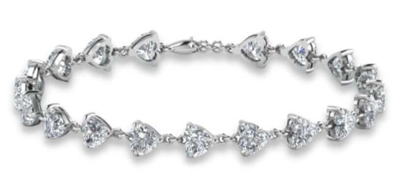 Pulsera de diamantes en talla corazón