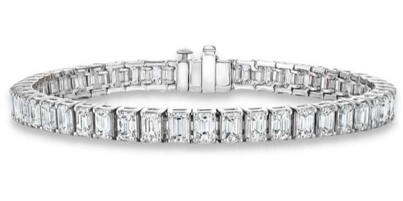 Pulsera de diamantes en talla esmeralda