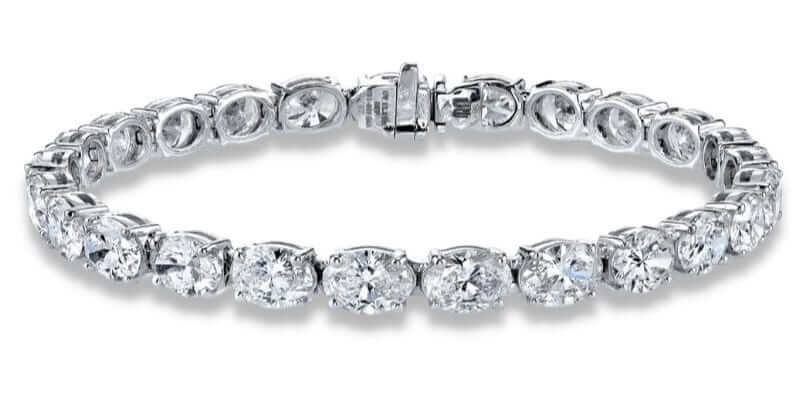 Pulsera de diamantes en talla oval