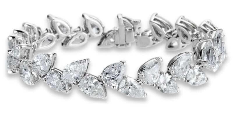 Pulsera de diamantes en talla pera