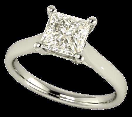 Solitario de compromiso con diamante princesa