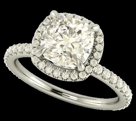 Sortija de compromiso con diamante talla cojín