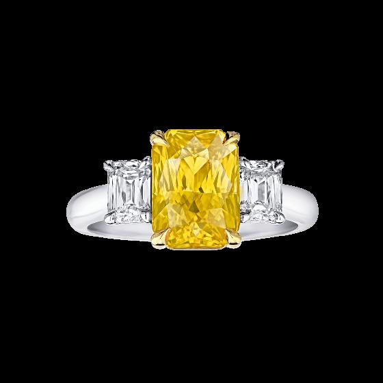 Zafiro amarillo con diamantes
