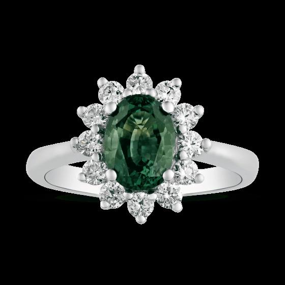 Sortija con zafiro oval verde y brillantes